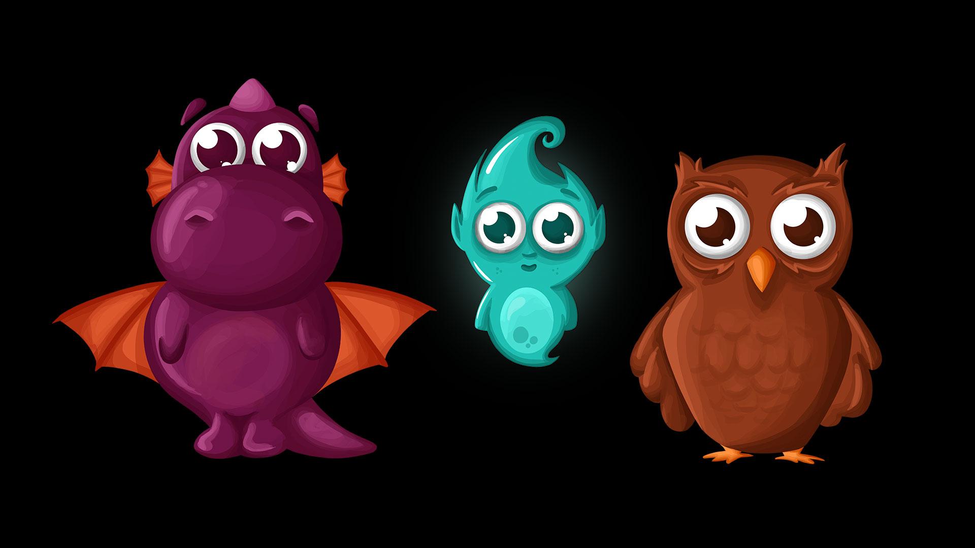 """illustrierte Charaktere aus der App """"Tiny Steps"""""""