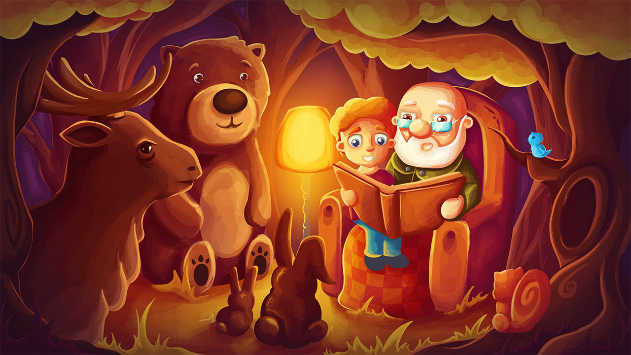 Illustration Tiere im Wald