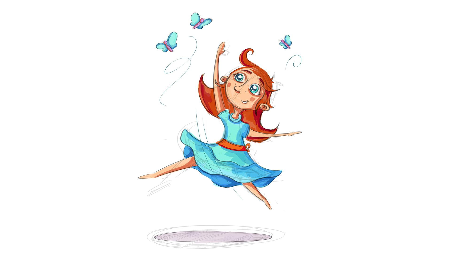 Illustration Mädchen mit Schmetterlingen