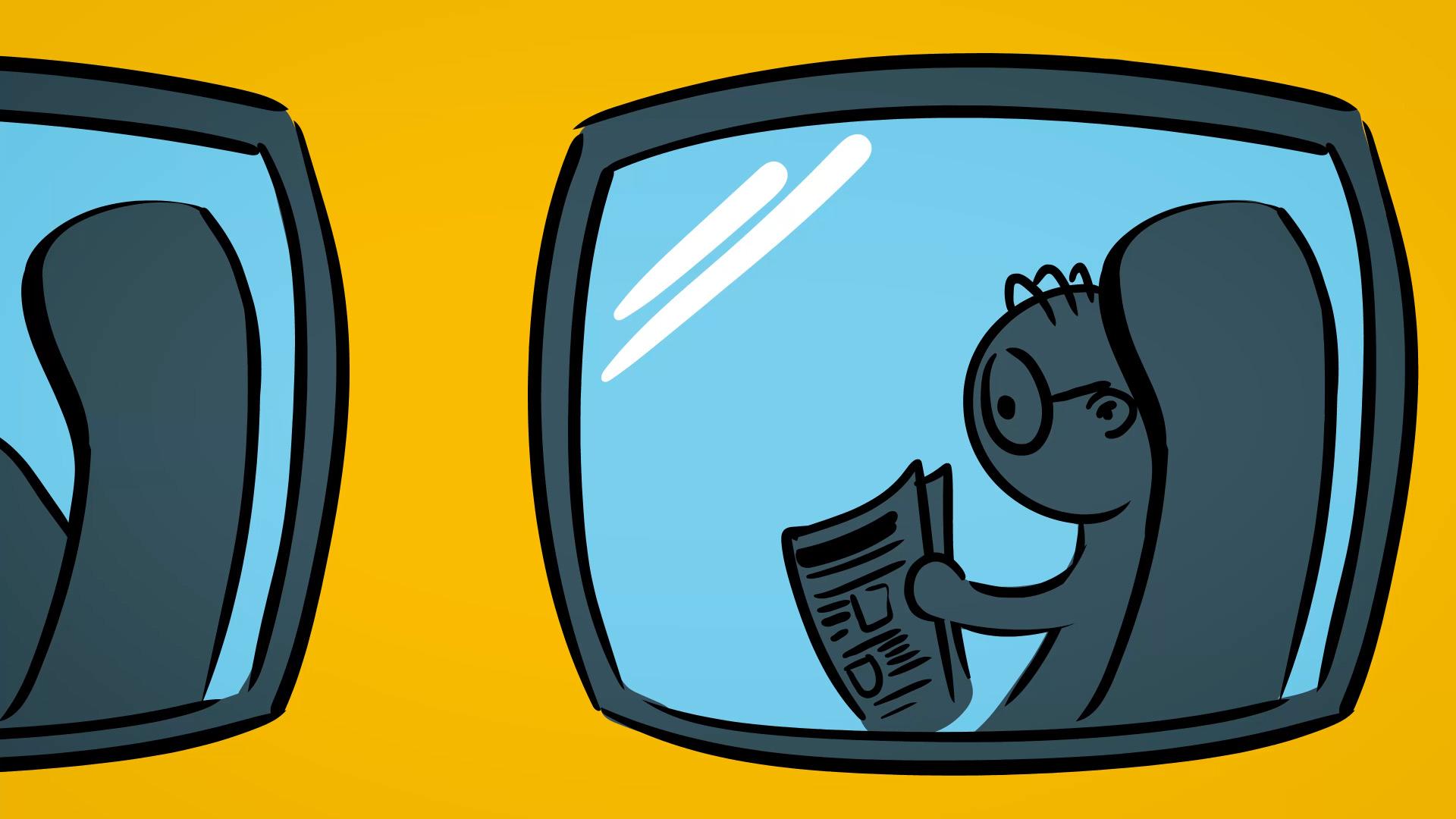 "Standbild Animationsvideo ""Unterwegs"""
